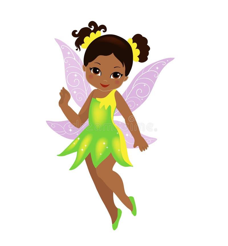 Иллюстрация красивой феи желтого зеленого цвета иллюстрация вектора