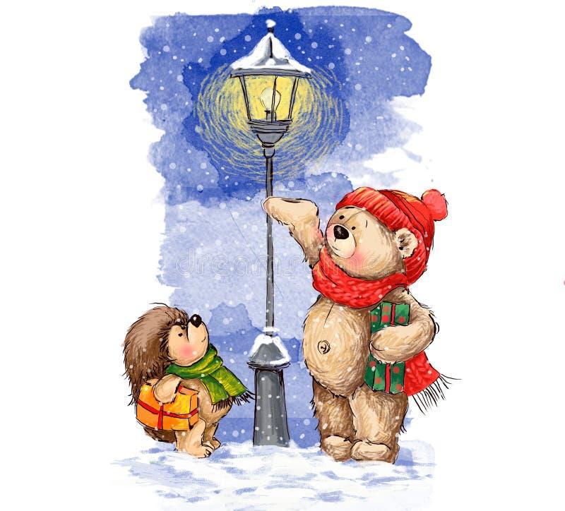 Иллюстрация Кристмас Милый медведь и еж с подарками рождества стоковые изображения