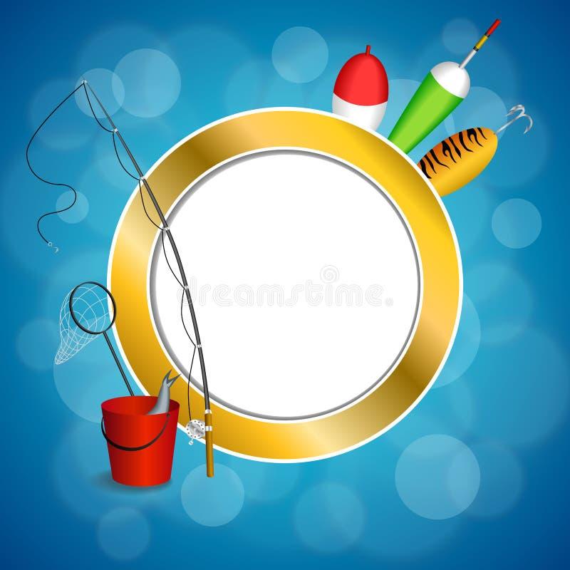 Иллюстрация круга рамки желтого зеленого цвета ложки поплавка сети рыб ведра рыболовной удочки предпосылки абстрактная голубая бе иллюстрация штока