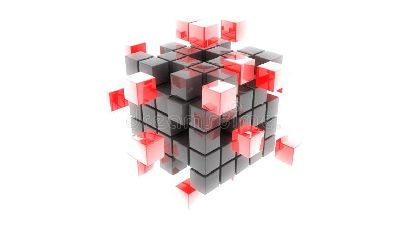 иллюстрация кубов 3d абстрактного металла красная иллюстрация вектора