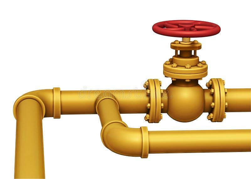 Иллюстрация клапана трубы газа Изолировано на белизне иллюстрация вектора