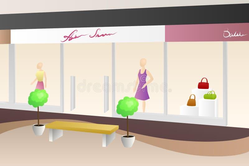 Иллюстрация магазина мола торгового центра современная бежевая внутренняя иллюстрация вектора