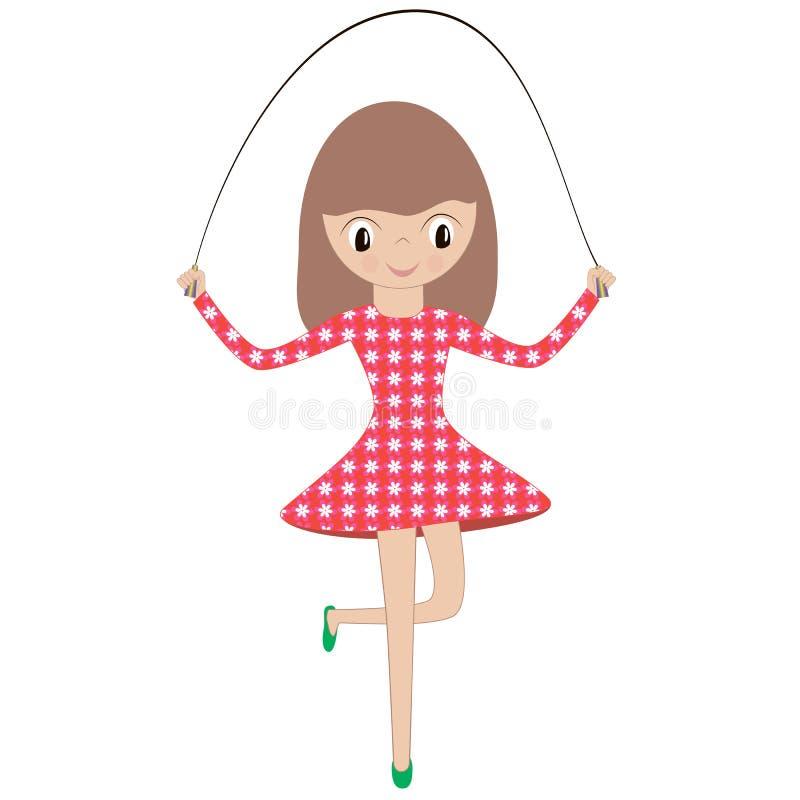 Иллюстрация маленькой девочки в красном платье играя прыгать иллюстрация вектора