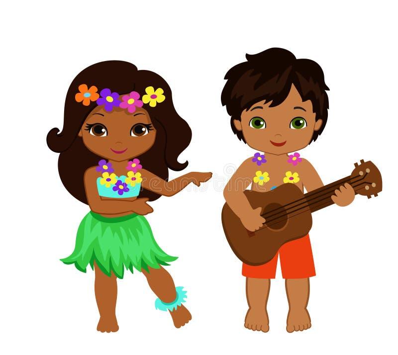 Иллюстрация мальчика играя гитару и гаваиские танцы hula девушки иллюстрация штока