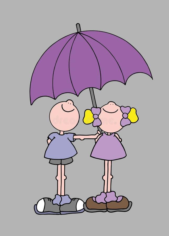 Иллюстрация мальчика и девушки держа гигантский фиолетовый зонтик стоковые фото