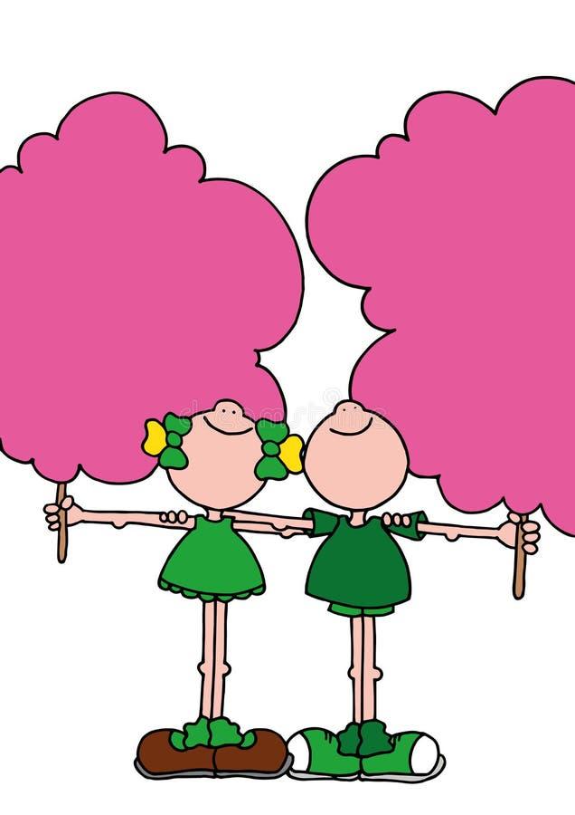 Иллюстрация мальчика и девушки каждое удерживание гигантская розовая конфета хлопка стоковые изображения rf
