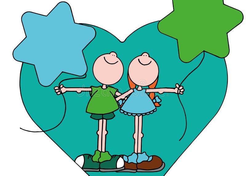 Иллюстрация мальчика и девушки каждое удерживание звезда сформировала воздушный шар стоковое изображение