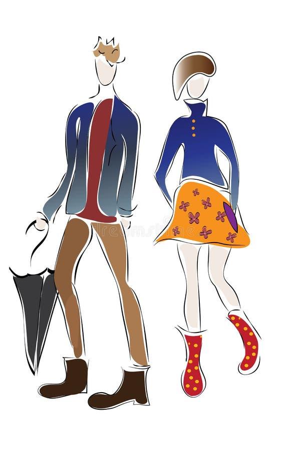 Иллюстрация мальчика и девушки иллюстрация вектора