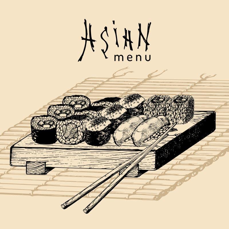 Иллюстрация меню вектора нарисованная рукой азиатская Сделанный эскиз к рукой комплект суш Японская еда, дизайн tableware для рес иллюстрация штока