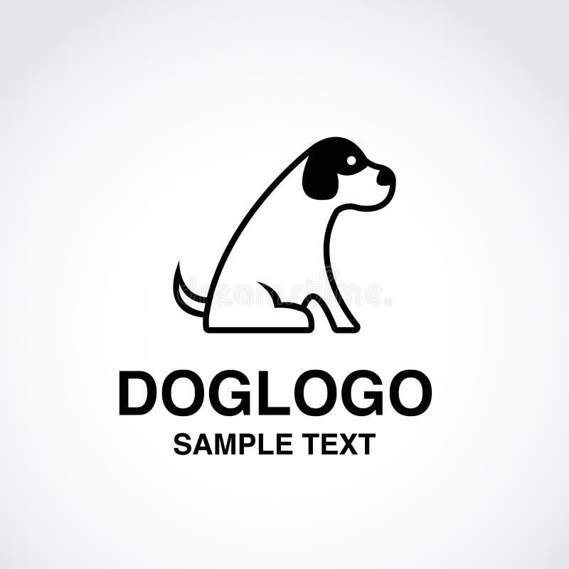 Иллюстрация милого логотипа собаки на белой предпосылке стоковые изображения