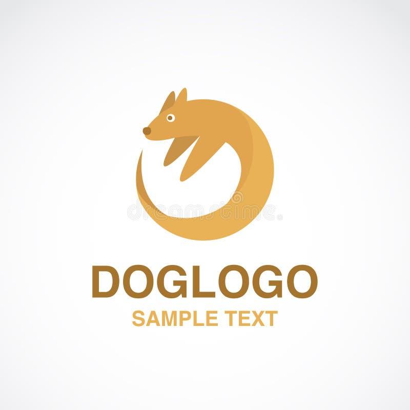 Иллюстрация милого логотипа собаки на белой предпосылке стоковые фото