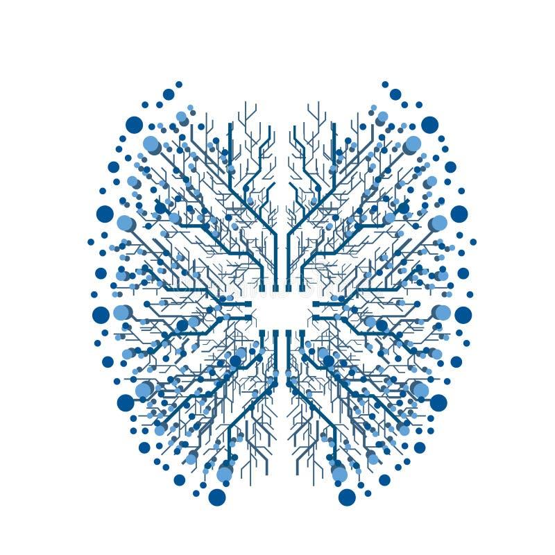 Иллюстрация мозга обломока цифров иллюстрация штока