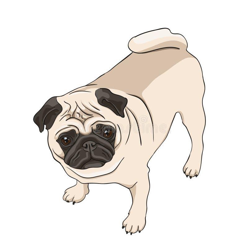 Иллюстрация мопса иллюстрация вектора