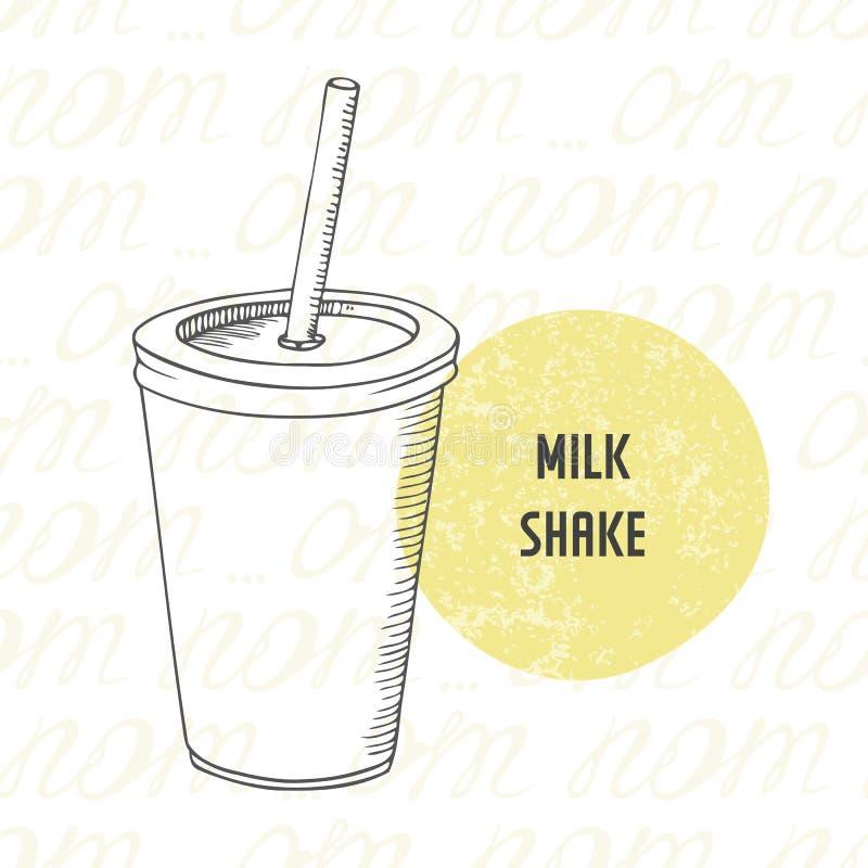 Иллюстрация молочного коктейля нарисованного рукой в бумажном стаканчике с ручкой бесплатная иллюстрация