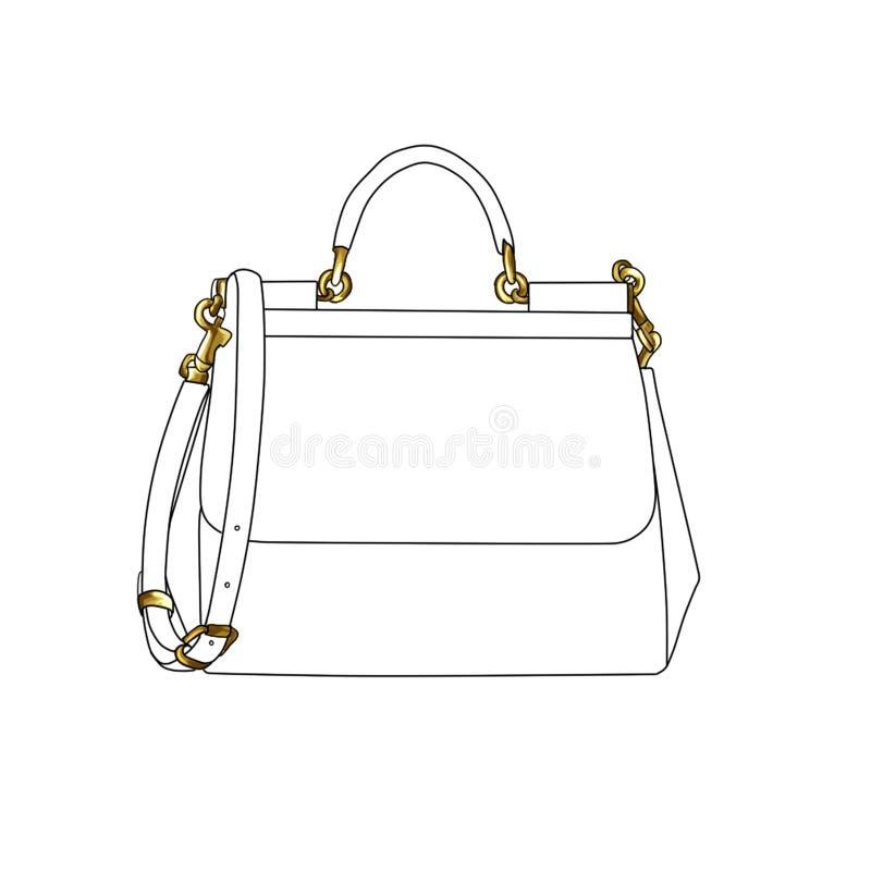 Иллюстрация моды растра дизайнерской сумки иллюстрация вектора