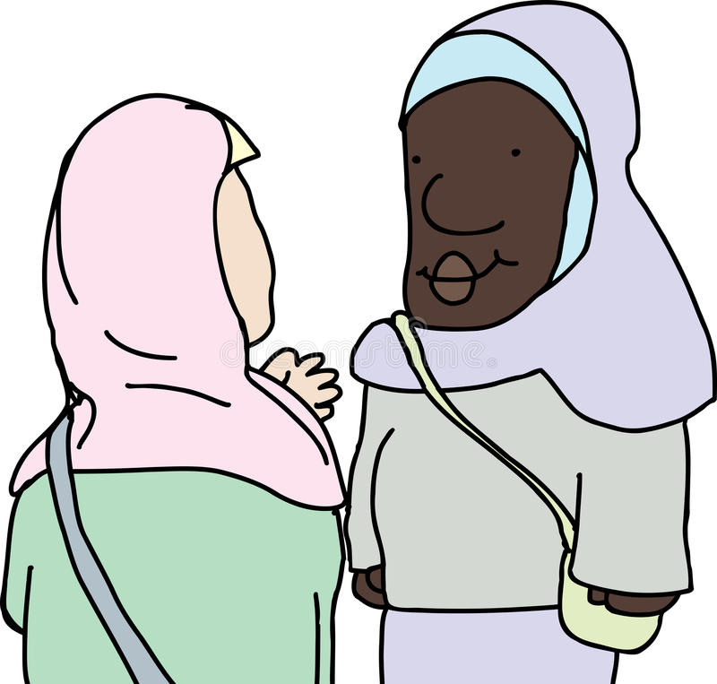 Мусульманский говорить дам иллюстрация вектора