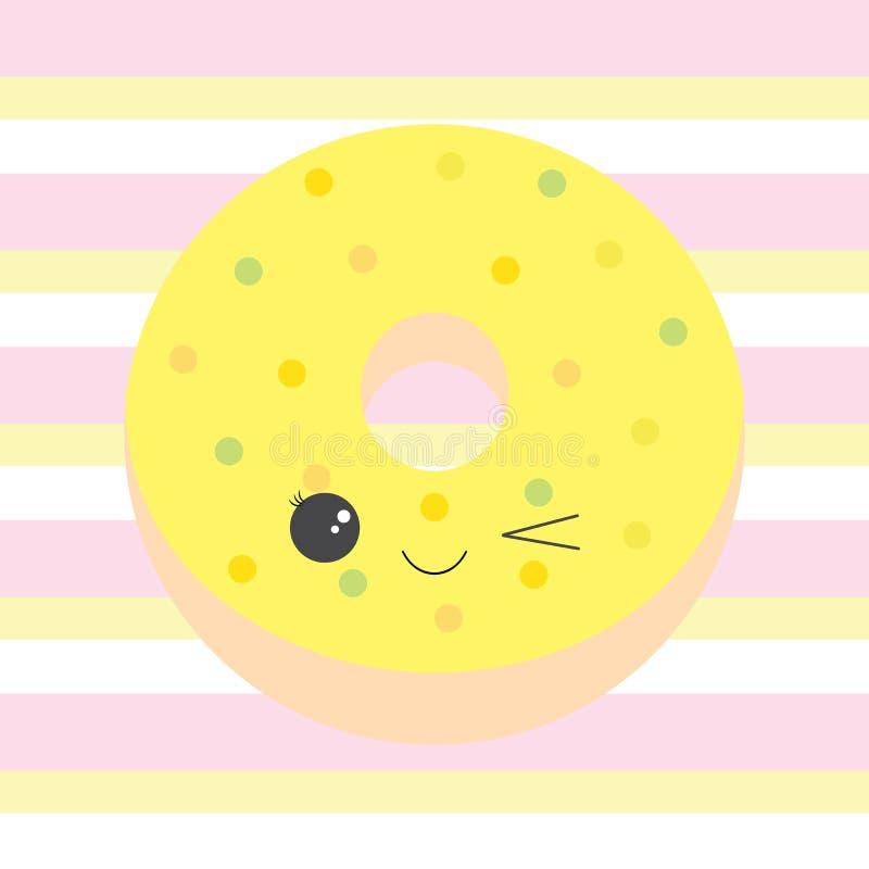 Иллюстрация младенца с милым желтым донутом на розовой и желтой предпосылке нашивок иллюстрация штока