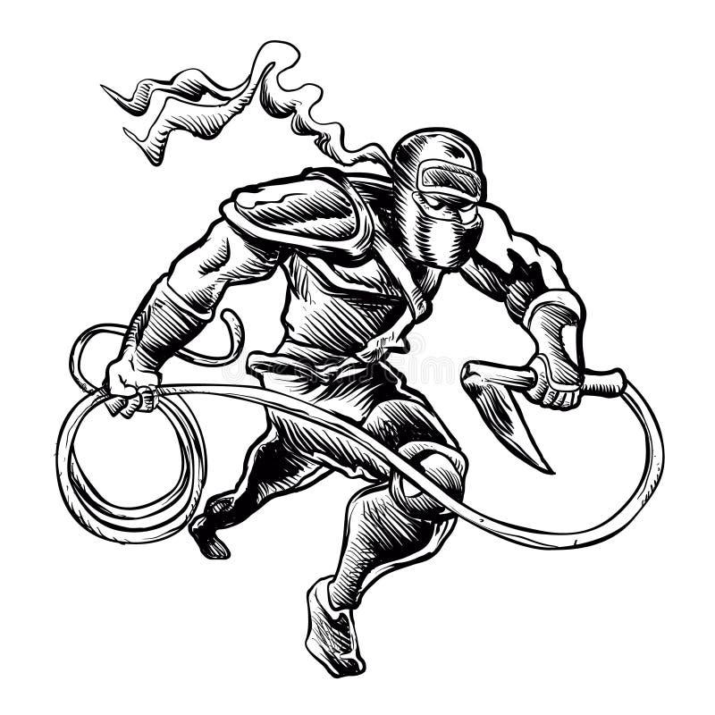 Иллюстрация нарисованная рукой схематичная ninja иллюстрация штока