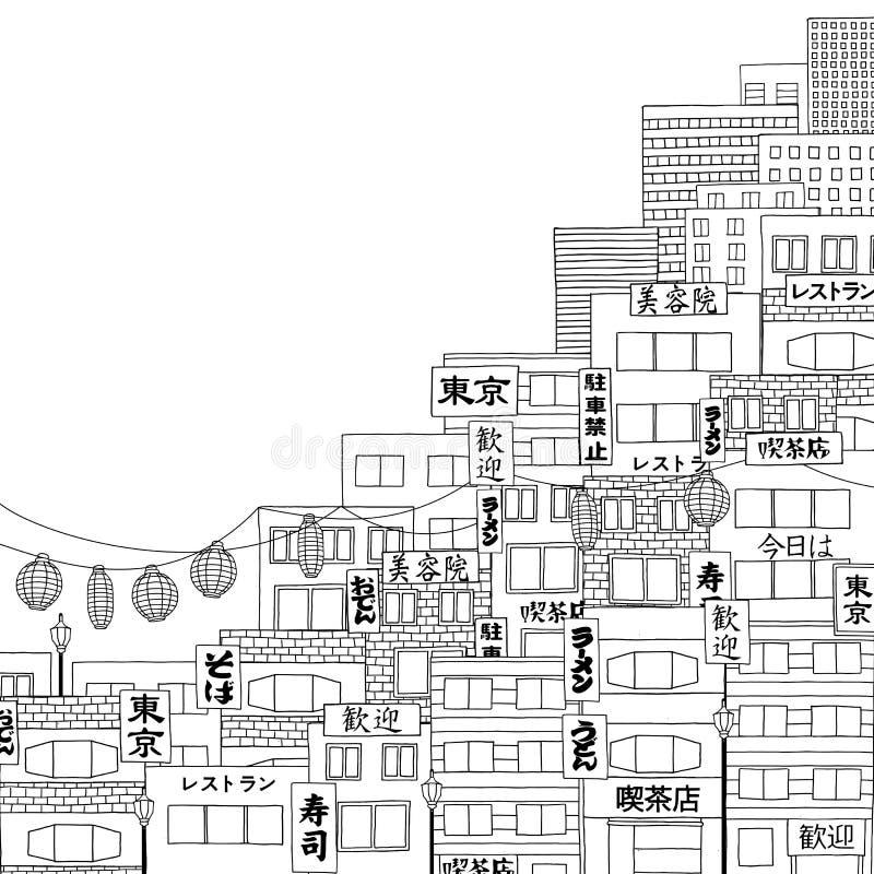 Иллюстрация нарисованная рукой токио