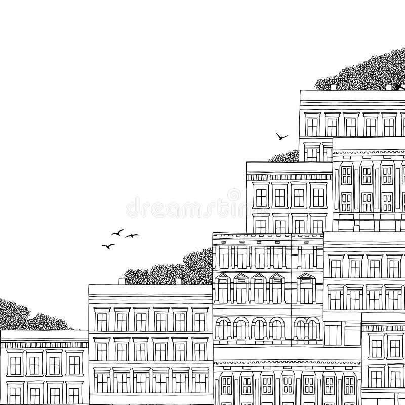 Иллюстрация норвежских домов стиля иллюстрация штока