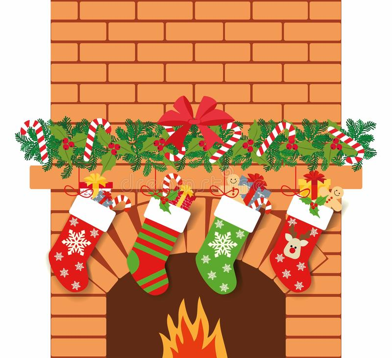 Иллюстрация носок рождества с подарками на предпосылке камина текст космоса подарков рождества предпосылки бесплатная иллюстрация