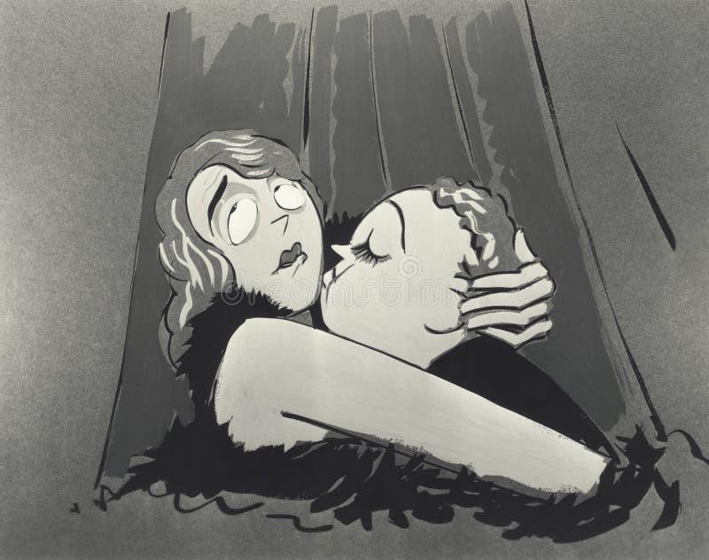 Иллюстрация обнимать пар стоковое изображение rf