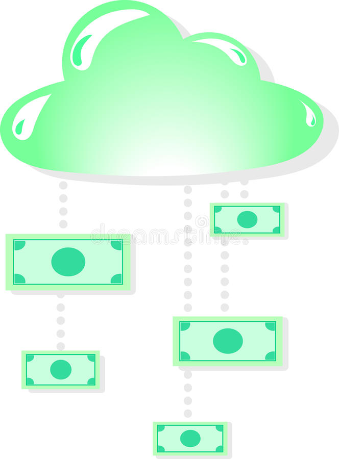 Иллюстрация облака и денег иллюстрация вектора
