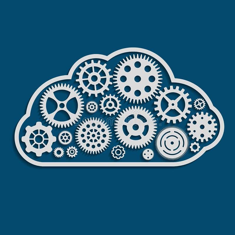 иллюстрация облака сделанная из cogwheels иллюстрация штока