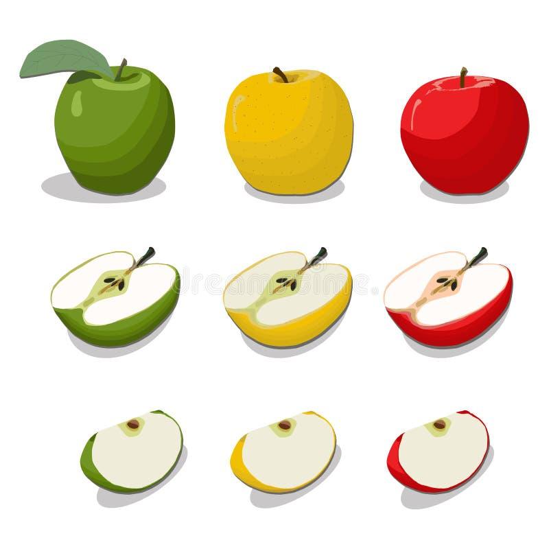 Иллюстрация логотипа для темы плодоовощ Яблока иллюстрация вектора