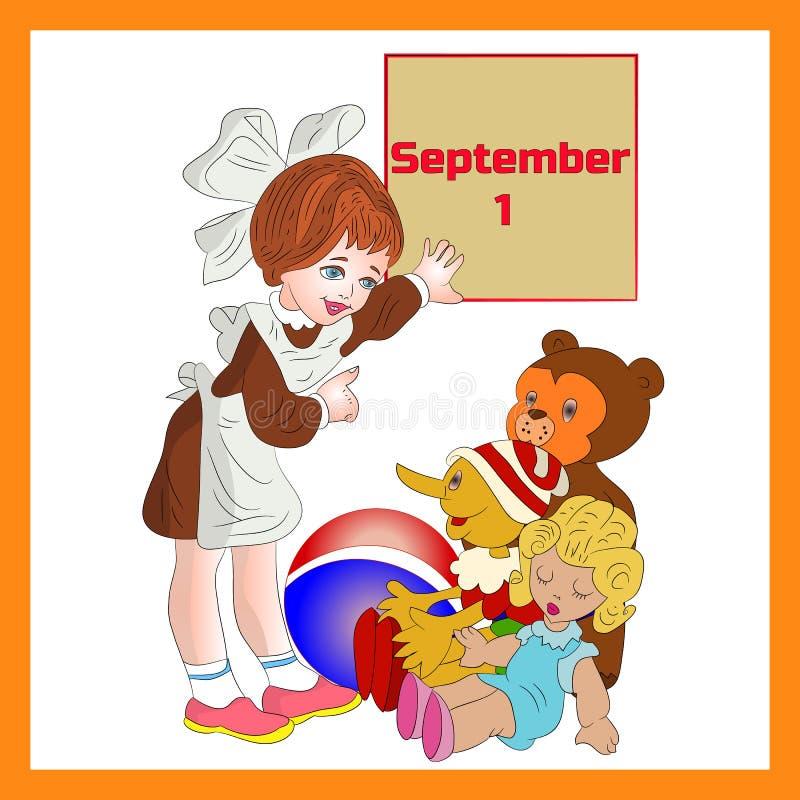Иллюстрация 1-ое сентября в рамке, cla школьницы девушки первом бесплатная иллюстрация