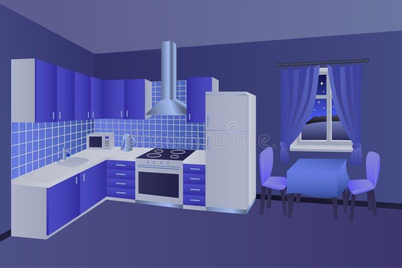 Иллюстрация окна стула таблицы современной ночи комнаты кухни внутренней голубая иллюстрация штока