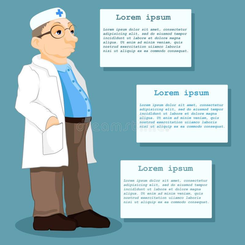 Иллюстрация доктора стоя перед таблицами информации Терпеливая информация вектор иллюстрация штока