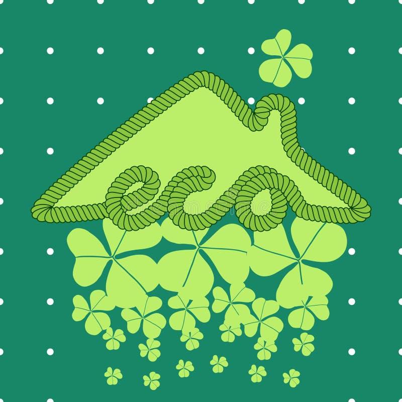Иллюстрация дома Eco с клевером стоковое изображение