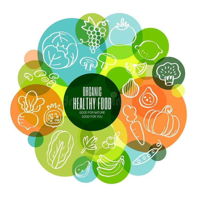 Иллюстрация органических здоровых фруктов и овощей схематическая иллюстрация штока