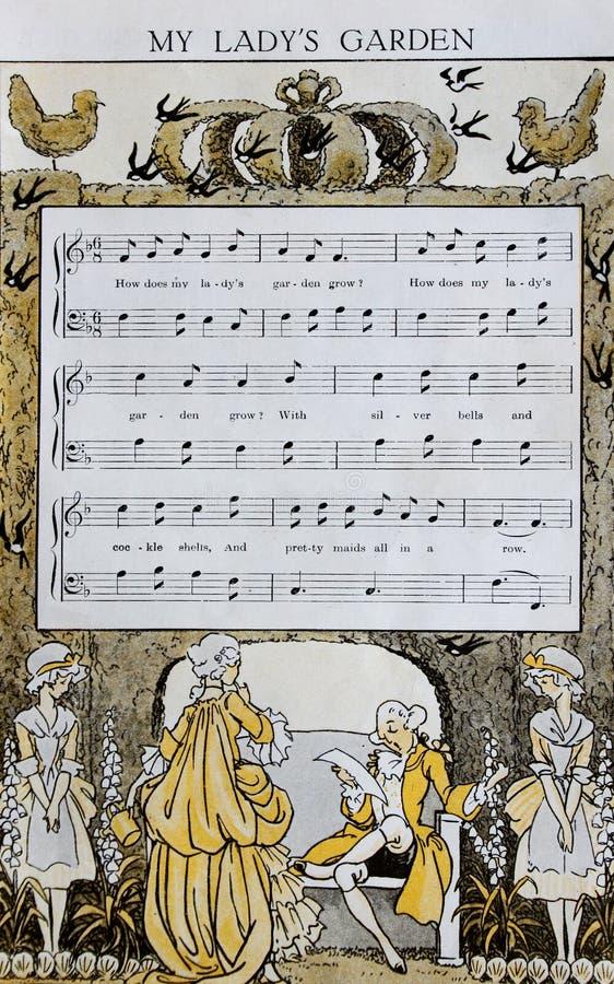 Иллюстрация от старой книги 1925 детского стишока стоковое изображение rf