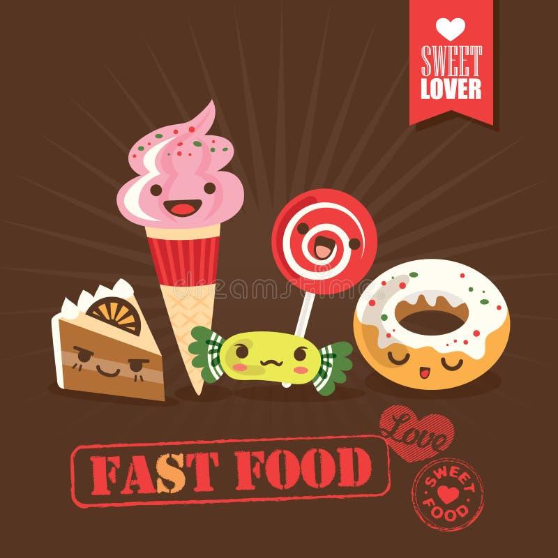 Иллюстрация персонажей из мультфильма конфеты помадок фаст-фуда Kawaii бесплатная иллюстрация