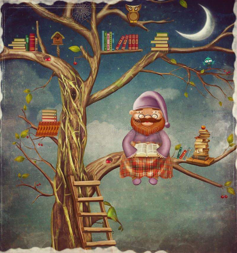 Иллюстрация пожилой персоны сидя на дереве и читает bo иллюстрация вектора