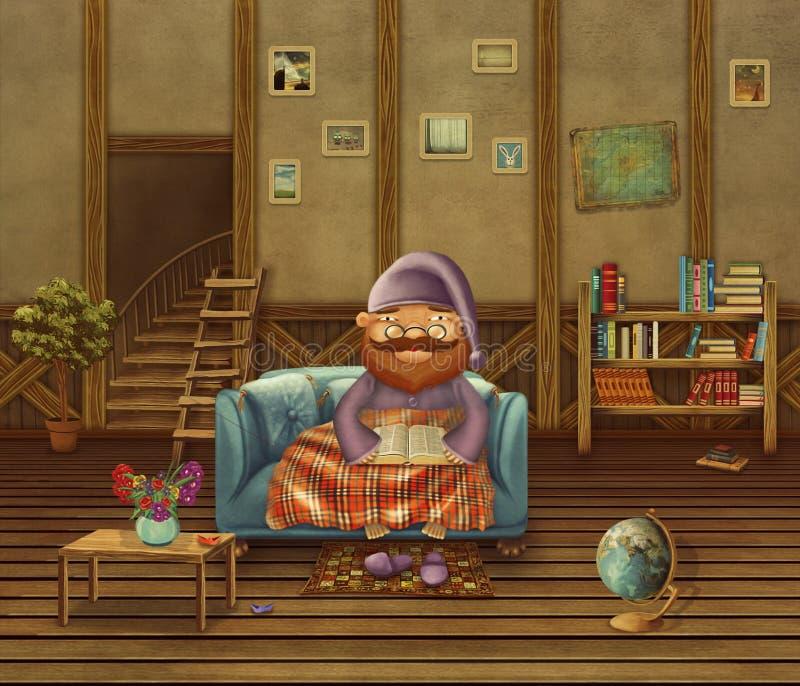 Иллюстрация пожилой персоны сидя на софе в доме бесплатная иллюстрация