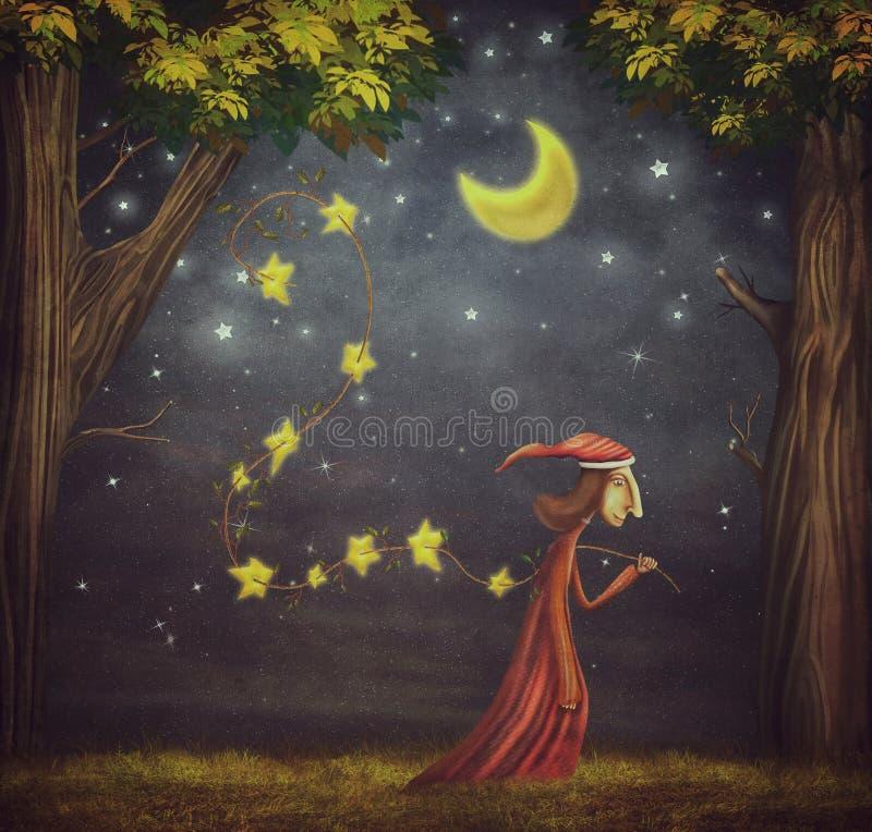 Иллюстрация показывая волшебника собирая звезды иллюстрация штока