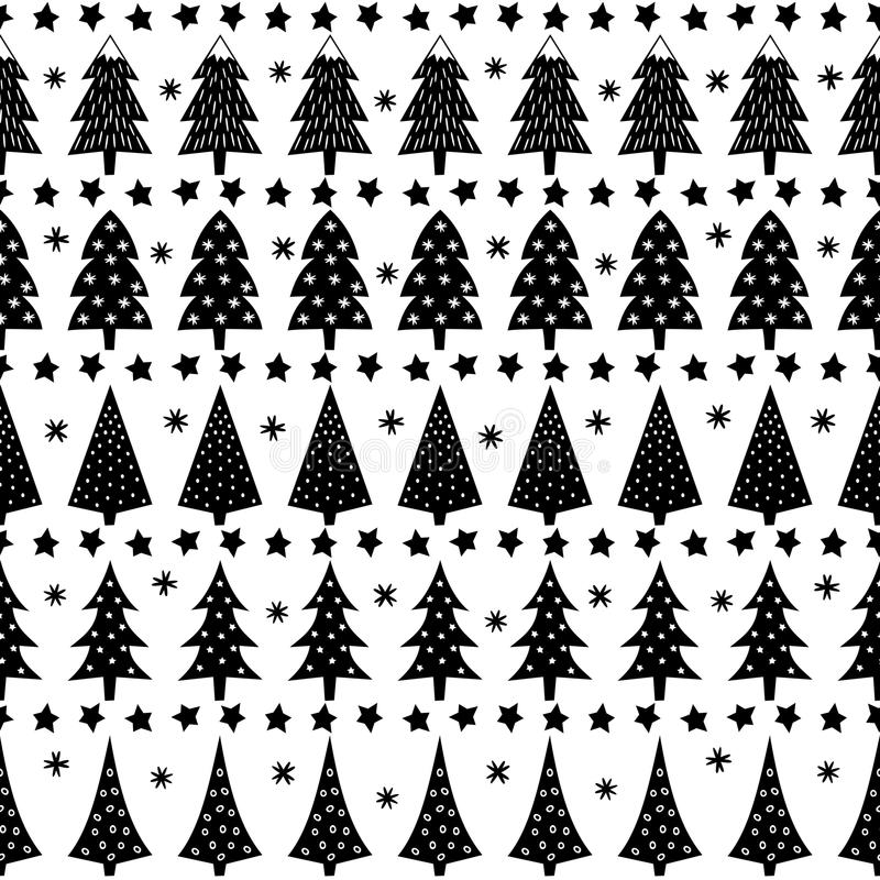 Иллюстрация предпосылки леса Простая безшовная картина рождества - деревья Xmas, звезды, снежинки иллюстрация штока