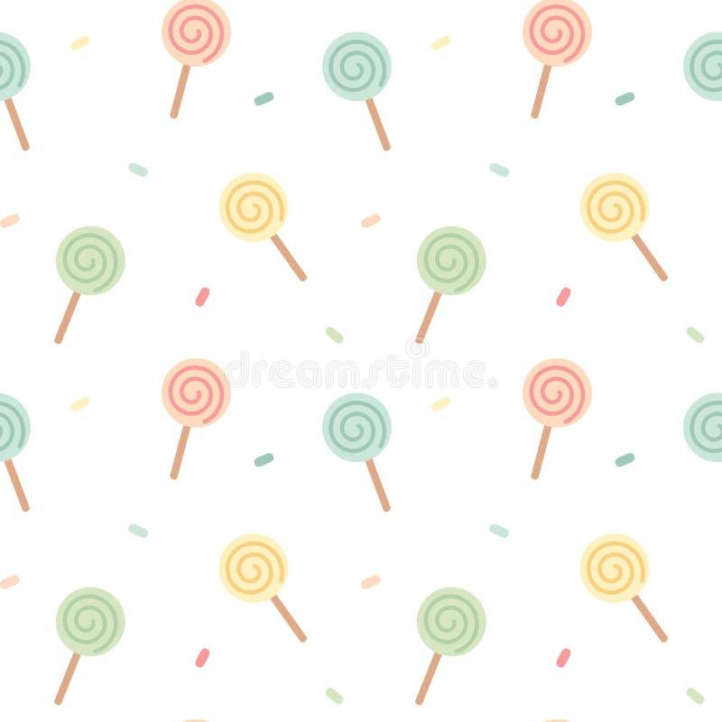 Иллюстрация предпосылки картины пастельного милого леденца на палочке безшовная иллюстрация вектора