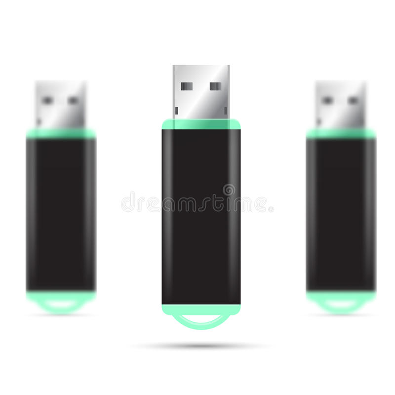 Иллюстрация привода вспышки USB установленная стоковое фото
