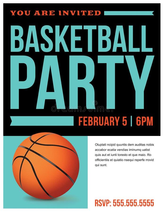 Иллюстрация приглашения рогульки партии баскетбола бесплатная иллюстрация