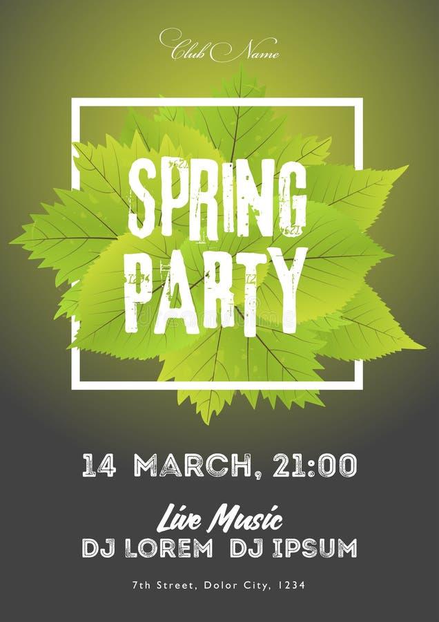 Иллюстрация приглашения рогульки партии ночного клуба весны Шаблон плаката зеленый цвет предпосылки черный иллюстрация штока