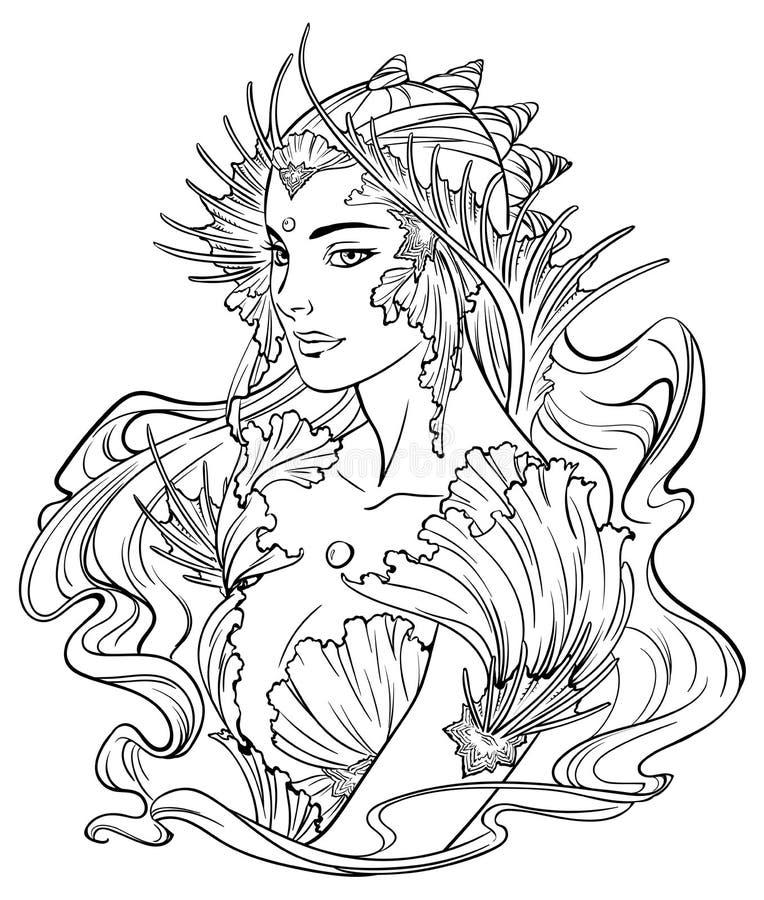 иллюстрация принцессы и рыбок русалки иллюстрация вектора