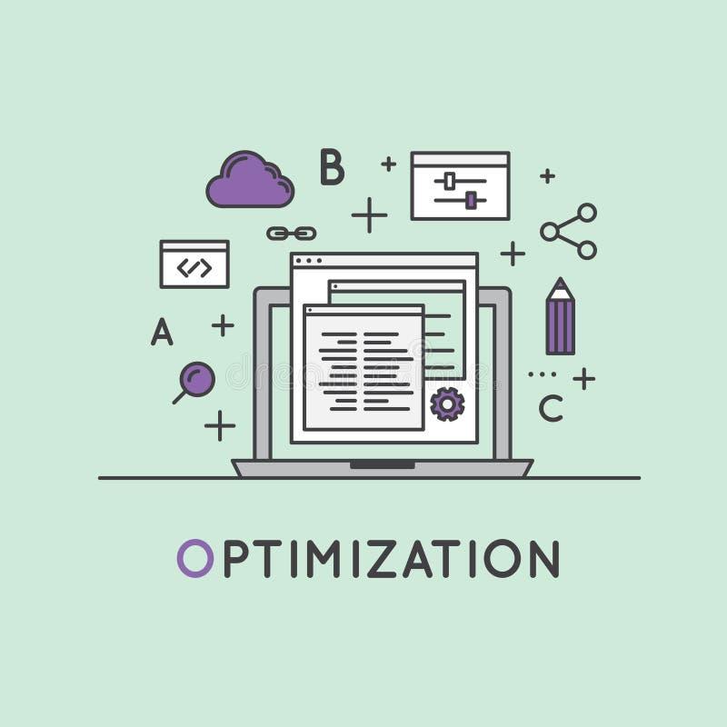 Иллюстрация процесса оптимизирования поисковой системы SEO иллюстрация вектора
