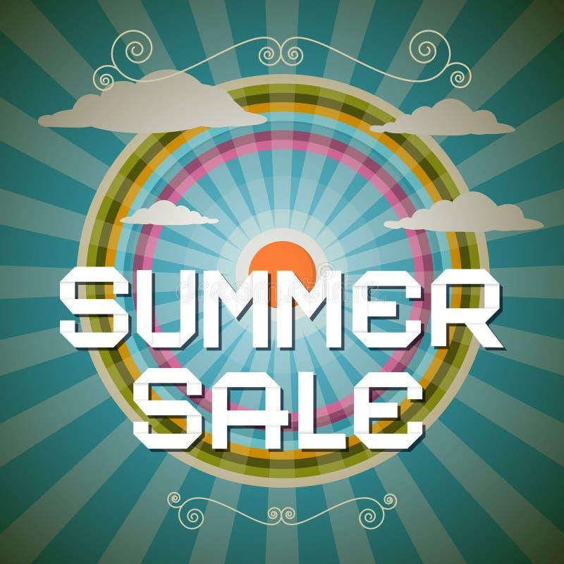 Иллюстрация продажи лета ретро с радугой иллюстрация вектора