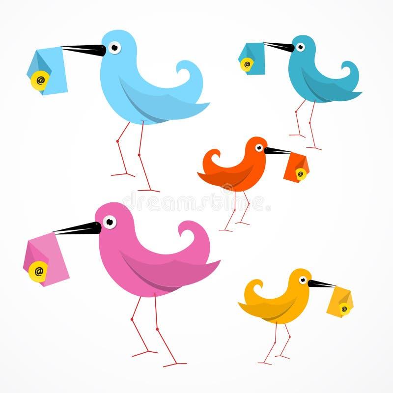 Иллюстрация птиц вектора красочная бумажная иллюстрация вектора