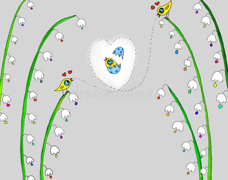 Иллюстрация 2 птиц поет на цветке иллюстрация штока