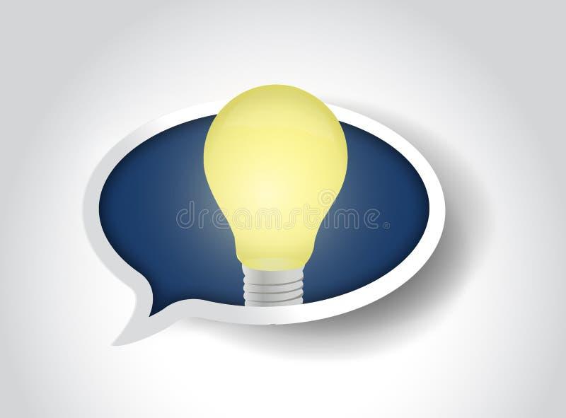 Иллюстрация пузыря сообщения электрической лампочки отличной идеи иллюстрация вектора